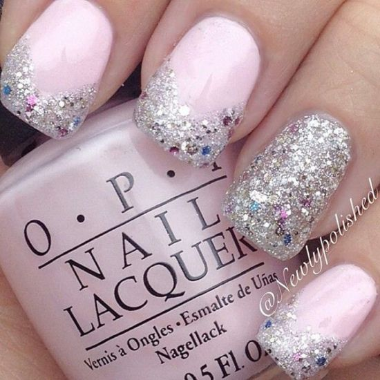 Pink silver glitter nails - 37 Beautiful Pink Glitter Nail Art Ideas Nail Design Ideaz