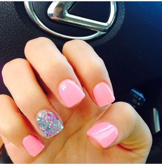 Sweet Light Pink Nails With Glitter Accented Nail