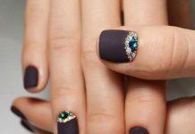 Jewels Over Matte Black Nails