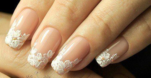 Floral Wedding Nail Tips