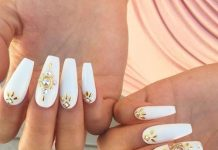 Gold Rhinestones And Jewels On White Coffin Nails