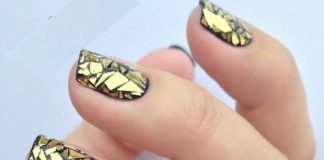Golden Stained Glass Nail Art
