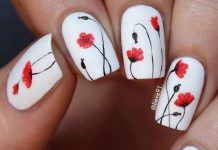 Gorgeous Poppies On White Polish