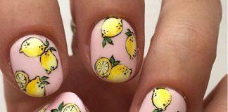 Lemons On Pastel Pink Nails