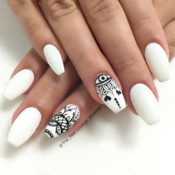 42Mandala Print On Matte White Nails - 42 Classy White Nail Art Ideas Nail Design Ideaz