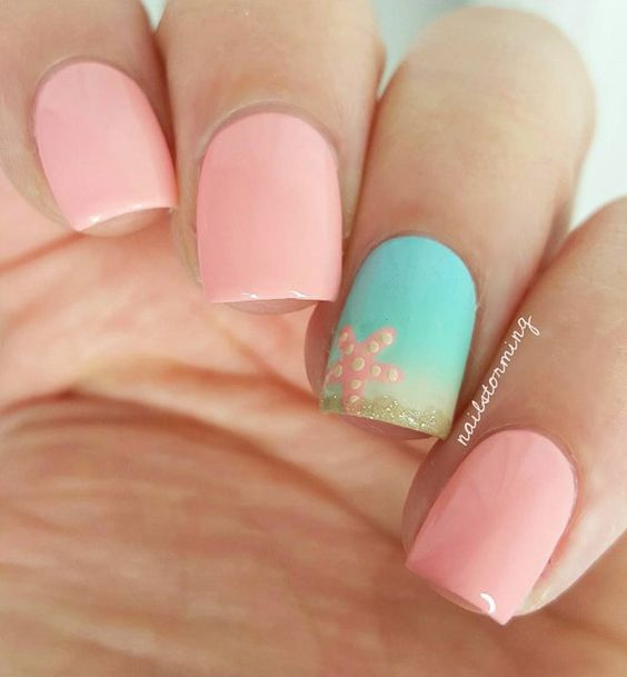 35Pastel Ocean Nail Art - 35 Exquisite Beach Nails Nail Design Ideaz
