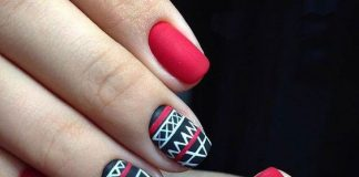 Red Aztec Print Nail Design