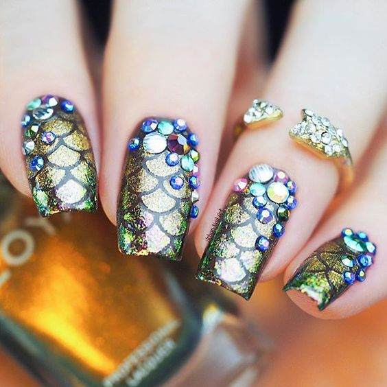 40 Sophisticated Mermaid Nail Art Ideas - 40 Sophisticated Mermaid Nail Art Ideas Nail Design Ideaz