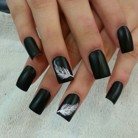 30White Feather On Matte Black Nails - 30 Heaven Sent Feather Nail Designs Nail Design Ideaz
