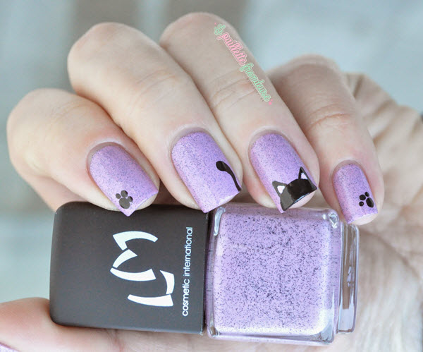 45Black Cat with Violet Background - 45 Purrfect Kitty Cat Nail Art Design Nail Design Ideaz