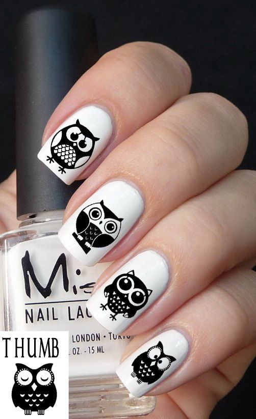 25Artsy Owls On White Nails - 30 Magnificent Owl Nail Designs Nail Design Ideaz