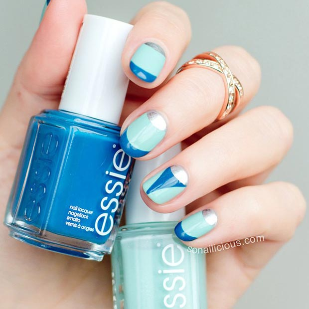 35blue And Silvery Nail Designs
