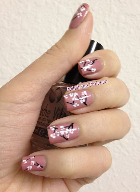 38Cherry Blossoms On Salmon Polish - 38 Stunning Cherry Blossom Nail Art Nail Design Ideaz