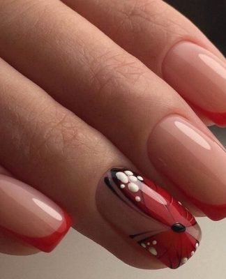 Cute Red Orange Butterfly Nails