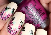 Floral Wreath On White Nails
