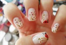 Flower Garden With Lady Bug Nail Design