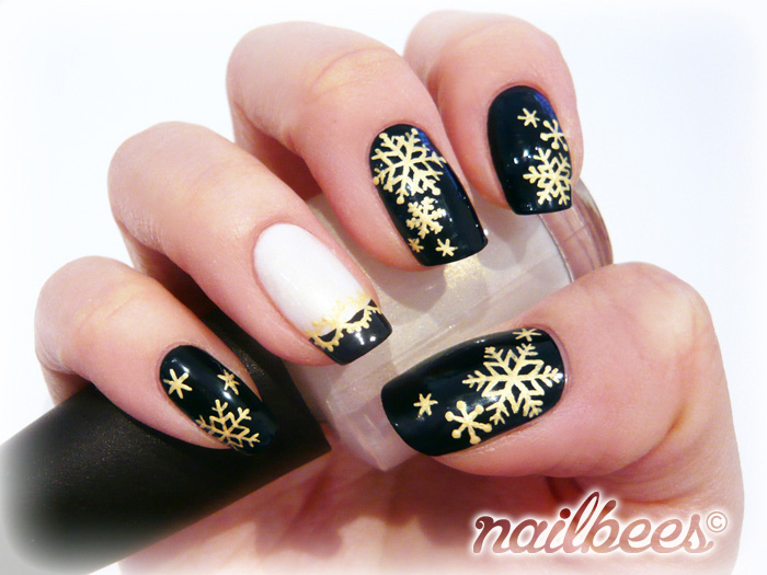 36Gold Snowflakes On Black Polish. Image Credit: Nailbees. BackNext. TAGS; Christmas  Nail Designs ... - 36 Festive Christmas Nail Designs Nail Design Ideaz