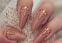 Golden Jewels On Brown Stiletto Nails