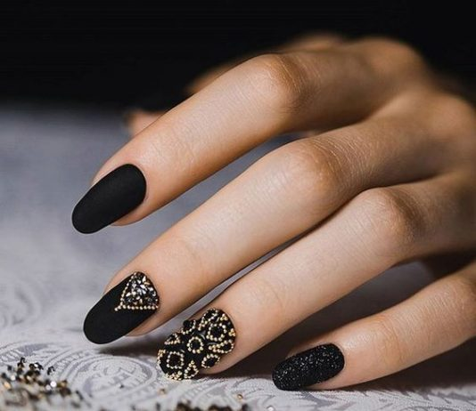 Gorgeous Jewels On Matte Black Nails