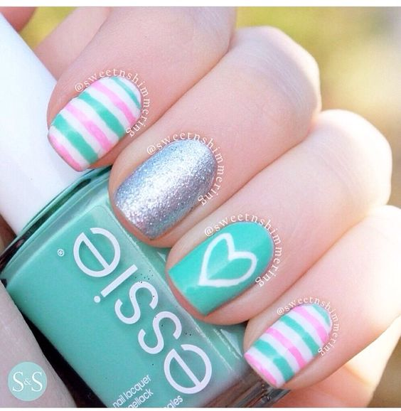 30Heart Pink Stripe Turquoise Nail Art - 30 Cute Turquoise Nails Nail Design Ideaz