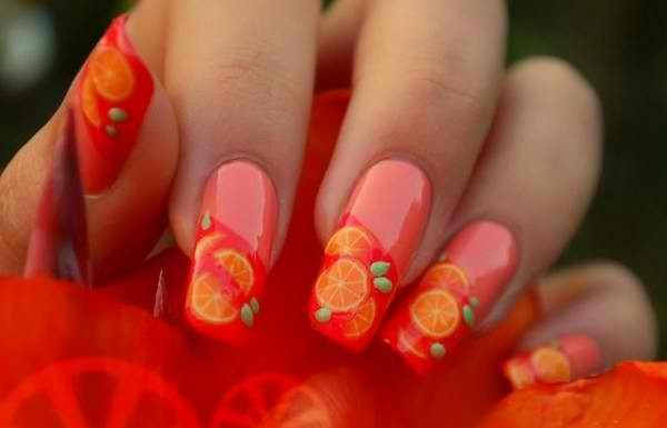 Lovely Orange Nail Art