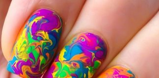 Neon Water Marble Nails