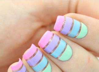 Pastel Stripes Nail Art