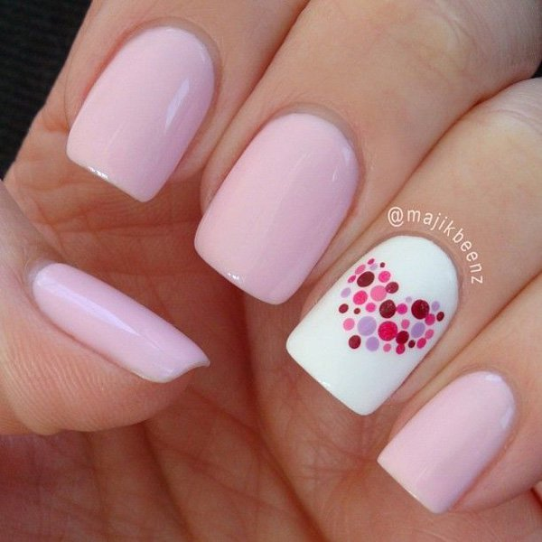 40Pink Heart Dotted Simple Nail Designs - 40 Cute Simple Nails Nail Design Ideaz