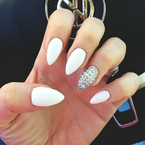 30Rhinestones Accent Over White Stiletto Nails - 30 Creative Designs For Short Stiletto Nails Nail Design Ideaz