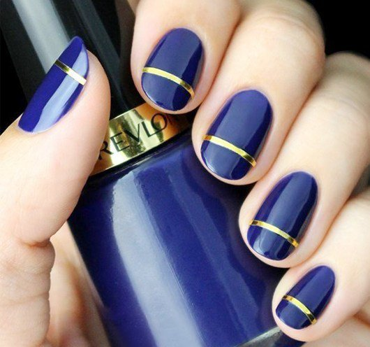 40 simple nail designs for short nails nail design ideaz 38navy and gold designs for short nails prinsesfo Image collections