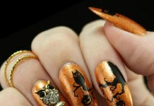 Sophisticated 3D Owl Decal On Shimmering Orange Nails