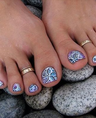 Sophisticated Floral Toe Nail Design