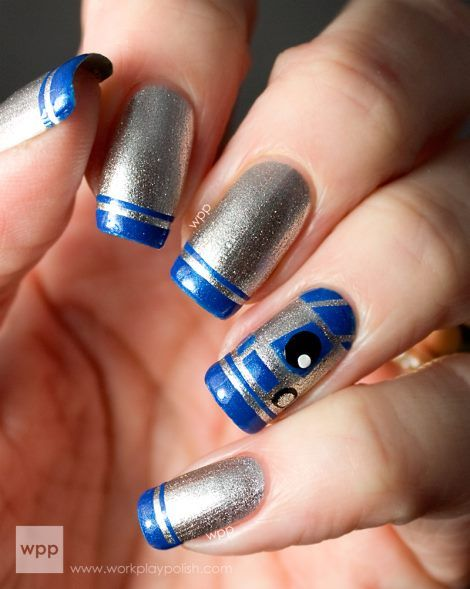 30Star Wars R2-D2 French Manicure - 30 Awesome Star Wars Nails Nail Design Ideaz