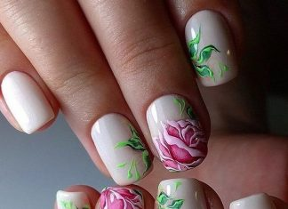 Stunning Realistic Pink Rose Nail Design