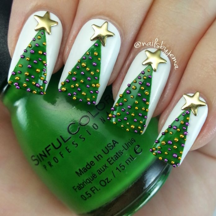 30white Christmas Tree Nails