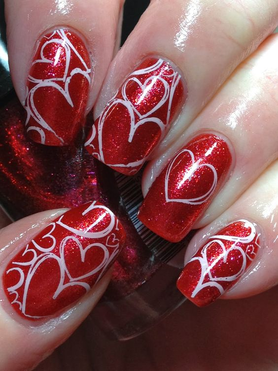 34White Hearts On Shimmering Red Nails - 34 Endearing Valentine Nail Art Designs Nail Design Ideaz