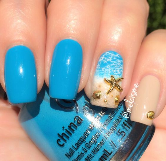 40Beach Nail Accent With Seashells And Starfish - 42 Stunning Beach Nail Designs Nail Design Ideaz