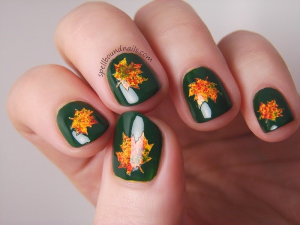 50 golden autumn nails nail design ideaz beautiful green and yellow orange leaf nails prinsesfo Gallery