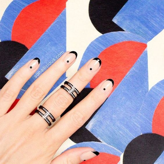 30Black French Tips On Squoval Nails - 32 Admirable Squoval Nails Nail Design Ideaz