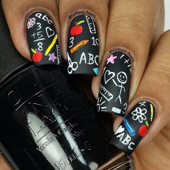 30 enticing back to school nails nail design ideaz 30blackboard inspired nails prinsesfo Gallery