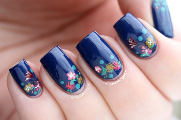 49blue Flower Spring Nail Designs