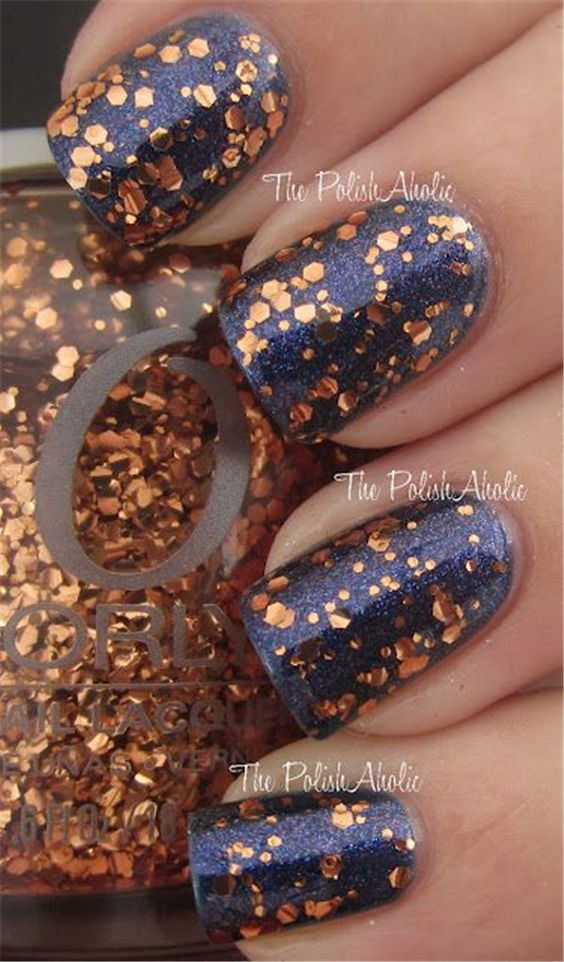 Blue and Gold Fall Nails