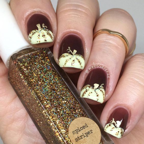 Burgundy and Gold Fall Inspired Pumpkin Nail Art