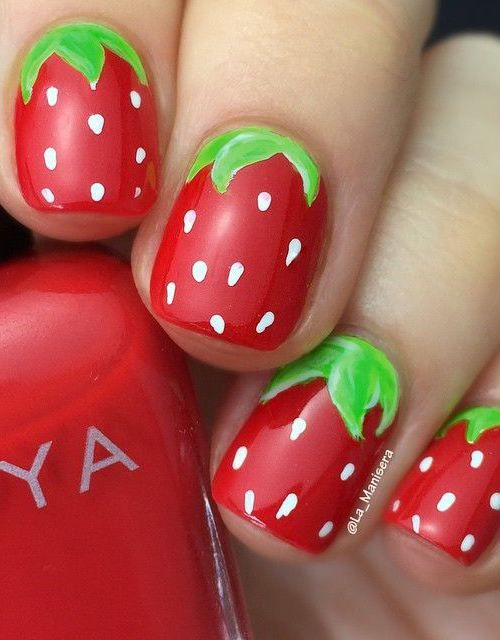 30 Strawberry Nail Art Ideas | Nail Design Ideaz