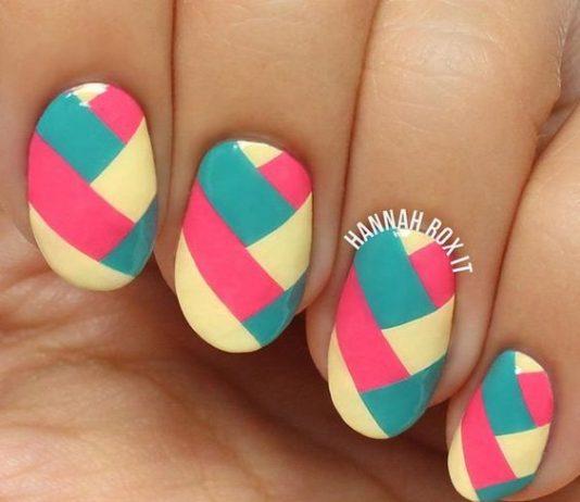 Color Block Oval Nail Designs