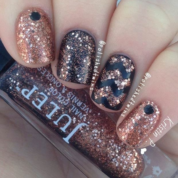 Copper Glitter Nail Design