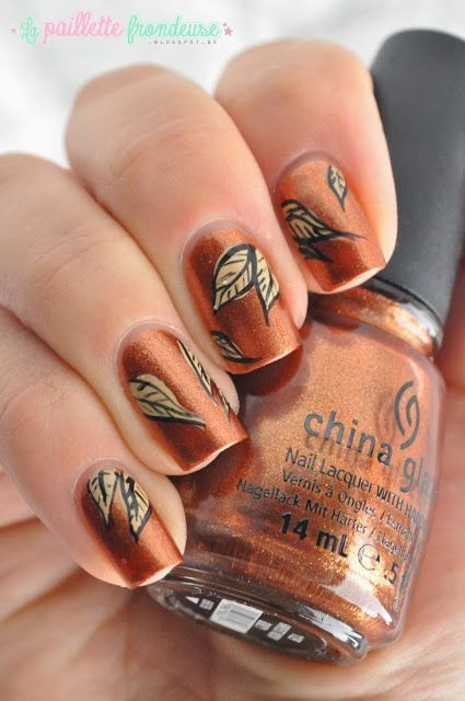Copper Leaves Nail Design