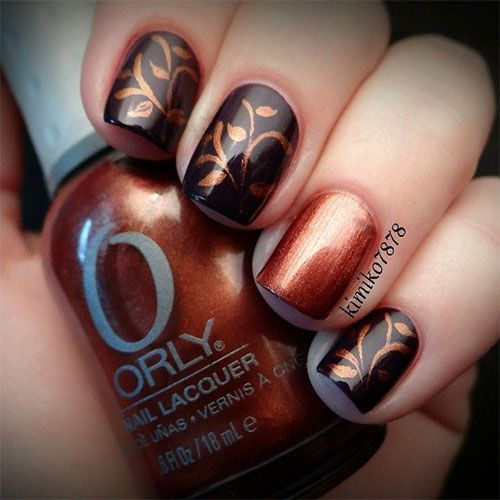 Copper Tree Nail Art