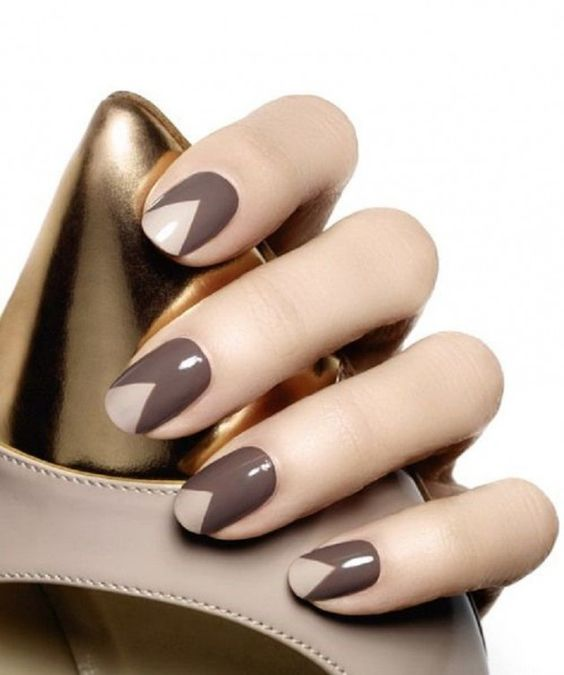 31Cut Out Triangles French Tips Brown Nail Designs - 32 Exquisite Brown Nail Designs Nail Design Ideaz