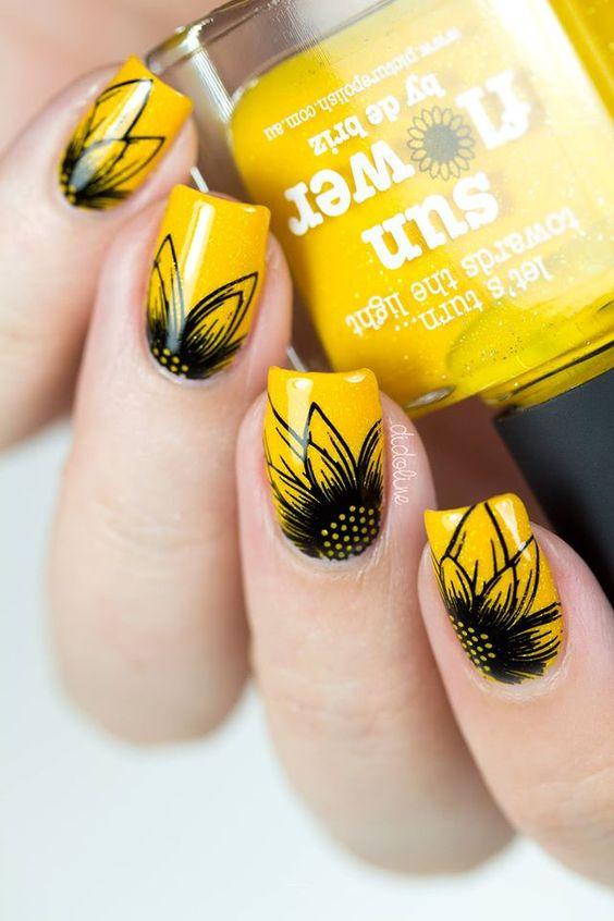 49Delectable Black and Yellow Nail Art - 50 Bright And Happy Sunflower Nails Nail Design Ideaz